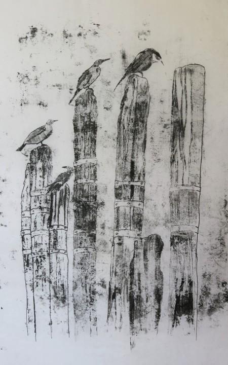 Sydney Park, monoprint on rice paper, 34 x 40 cm (2)