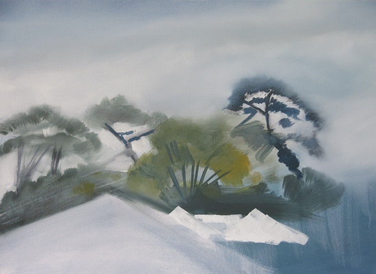 Trees beyond the rooftops_oil on canvas_36 x 40 cm