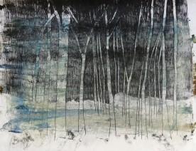 Ghost gums, monoprint on rice paper 34 x 40 cm