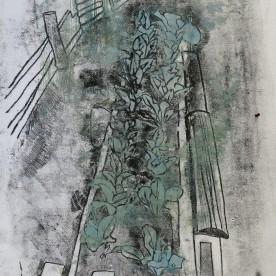 Silverbeet, monoprint on ricepaper 34 x 40 cm